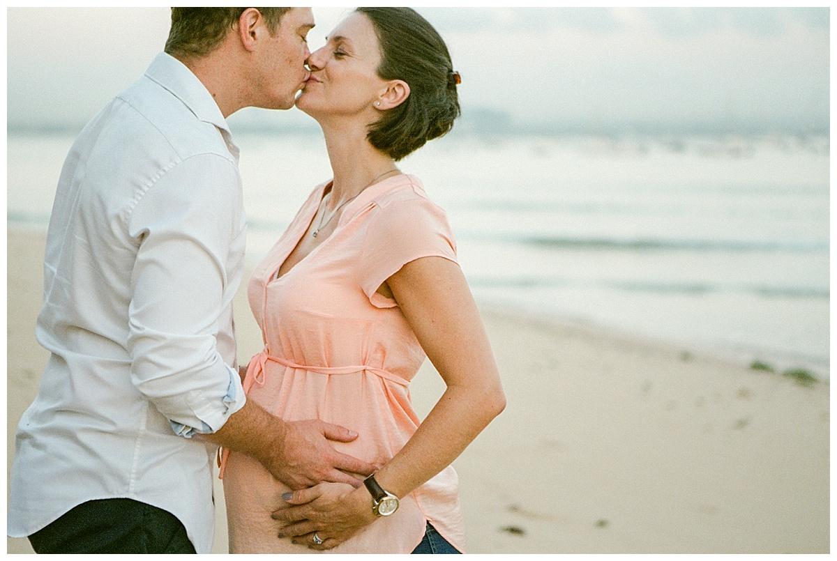 beach maternity photos on film